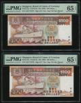 Singapore, a pair of $100, ND (1995),  Shipsseries, consecutive serial numbers A/28 717077-078, (Pic