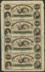 The Citizens Bank of Louisiana, sheet of four $100, (LA15G48a), solid paper, good extremely fine, bo