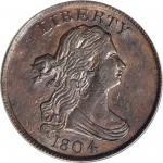 1804 Draped Bust Half Cent. C-11. Rarity-3. Plain 4, Stems to Wreath. AU-55 (PCGS). CAC.