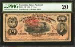 COLOMBIA. Banco Nacional. 10 Pesos. 1881. P-143a. PMG Very Fine 20.