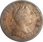 1774 Machins Mills Halfpenny. Vlack 5, 8-74A, W-7760. Rarity-4. GEORGIVS III, Group I. Very Fine, Li