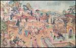 """1930-40年代中国彩色印刷海报 (招贴画) 一组四幅. 包括""""阿房宫图"""", """"大观园"""", """"上海市集团结婚"""" 及古代皇帝 (渣华轮船公司印). 边位有破. (38x60cm-48x73cm)"""
