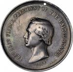1853 Franklin Pierce Indian Peace Medal. Medium Size. Silver. 63.2 mm. 79.57 grams. Julian IP-33, Pr