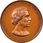 1865 Andrew Johnson Indian Peace Medal. Bronzed Copper. 75.46 mm. By Anthony C. Paquet. Julian IP-40
