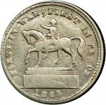 1863 Equestrian / UNION FOR EVER Civil War token. Musante GW-641, Baker-479, Fuld-177/271j. Rarity-7