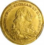 ITALY. Naples & Sicily. 6 Ducati, 1776-BP/CC-C. Ferdinand IV. PCGS MS-63 Gold Shield.