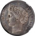 CHILE. Silvered Uniface Peso Essai (Pattern), 1848. NGC MS-62.