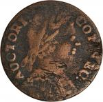 1785 Connecticut Copper. Miller 4.4-D, W-2380. Rarity-7. Mailed Bust Right. Fine Details—Environment