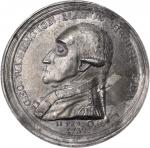 1790 (Circa 1858) Washington Manly Medal. Second Obverse. White Metal. 48 mm. Engraved by Samuel Bro