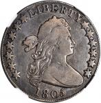 1805 Draped Bust Half Dollar. O-105a, T-12. Rarity-6. Fine-12 (NGC).