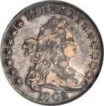 1802/1 Draped Bust Silver Dollar. BB-234, B-3. Rarity-3. Wide Date. EF-40 (PCGS).