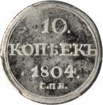 RUSSIA. 10 Kopeks, 1804-CNB OR. St. Petersburg Mint. Alexander I. PCGS GOOD-06 Gold Shield.