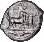 SICILY. Syracuse. Second Democracy, 466-406 B.C. AR Tetradrachm (16.83 gms), ca. 415-405 B.C. NGC Ch