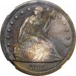 1869 Liberty Seated Silver Dollar. OC-P4. Rarity-5-. Misplaced Date, Doubled Die Reverse. Proof-67 *