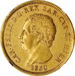ITALY. Sardinia. 80 Lire, 1830-P. Turin Mint; mm: Eagle. Carlo Felice. NGC AU-58.
