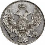 1831-CNB年俄罗斯铂金12卢布。圣彼得堡造币厂。尼古拉斯一世。类镜面打铸。RUSSIA. Platinum 12 Rubles, 1831-CNB. St. Petersburg Mint. N