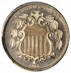 1866 Shield Nickel. Rays. Proof-65 (PCGS).