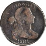 1801 Draped Bust Cent. S-223. Rarity-1. Fraction 1/000. VG-8 (PCGS).