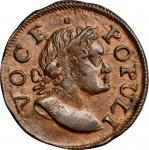 1760 Voce Populi Halfpenny. Nelson-9, Zelinka 6-C, W-13280. AU-58 (PCGS).