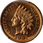 1887 Indian Cent. MS-65 RD (PCGS).