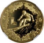 People s Republic of China, gold 250 yuan, 1980, Lake Placid Olympics: Alpine Skiing,NGC PF69 Ultra