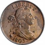 1803 Draped Bust Cent. S-249. Rarity-2. 1/100 Over 1/000. MS-62 BN (PCGS).