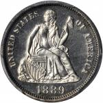 1889 Liberty Seated Dime. Proof-64 (PCGS).