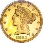 1903 $5 Liberty. PCGS PF66
