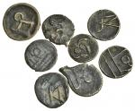 Manipur, group of 8 base-metal uniface Sels, as previous lot, with legends mā, bha?, rā, &