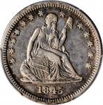 1845 Liberty Seated Quarter. AU Details--Cleaned (PCGS).