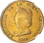 COLOMBIA. 16 Pesos, 1839/8-RS. Bogota Mint. NGC EF-45.