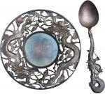 民国天津天宝银楼纹银盘、汤匙,做工精细,品相良好