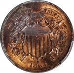 1864 Two-Cent Piece. Large Motto. MS-64 RB (PCGS).