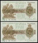 1922-23年英国一镑纸币连号二枚,编号G1 28 807485-5, 均AU品相,中摺