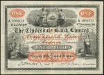 Clydesdale Bank Limited, £1, 4 November 1914, serial number A1060214, uniface, black on orange under
