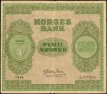 NORWAY. Norges Bank. 50 Kroner, 1945. P-27a. Fine.