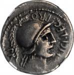 POMPEY JUNIOR. AR Denarius (3.94 gms), Corduba Mint; Marcus Poblicius, legatus pro praetore, 46-45 B