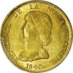 COLOMBIA. 1840-RS 16 Pesos. Bogotá mint. Restrepo M211.7. MS-62 (PCGS).