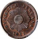 PERU. Centavo, 1917. PCGS MS-65 Brown Gold Shield.