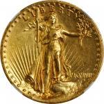 MCMVII (1907) Saint-Gaudens Double Eagle. High Relief. Wire Rim. Unc Details--Rim Filing (NGC).