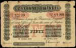 x Government of India, 50 rupees, A (Cawnpore), 30 April 1919, serial number 82199, uniface, black o