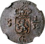 1808年荷兰巴达维亚共和国1/2Duit。NETHERLANDS EAST INDIES. Batavian Republic. 1/2 Duit, 1808. NGC MS-63 Brown.