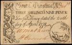 SC-146. South Carolina. April 1778. 3 Shillings 9 Pence. Very Fine.