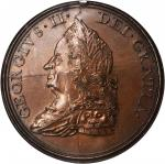 1757 (ca. 1861-1875) King George II Indian Peace Medal. 19th Century Restrike. Bronzed Copper. 45 mm