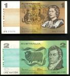 x Reserve Bank of Australia, $1 (100), $2 (100), ND (1974-83), consecutive serial numbers DPB 573278