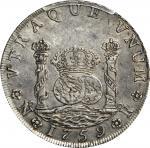 COLOMBIA. 1759-JV 8 Reales. Santa Fe de Nuevo Reino (Bogotá) mint. Ferdinand VI (1746-1759). Restrep