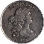 1802/0 Draped Bust Half Cent. C-2. Rarity-3. Second Reverse (a.k.a. Reverse of 1802). VF-30 (PCGS).