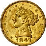 1847-C Liberty Head Half Eagle. MS-61 (PCGS). CAC.