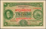 1921年莫桑比克大西洋银行1埃斯库多。MOZAMBIQUE. Banco Nacional Ultramarino. 1 Escudo, 1921. P-66. Very Fine.