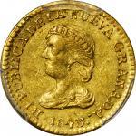 COLOMBIA. 1843-UM 2 Pesos. Popayán mint. Restrepo 202.7. AU-58 (PCGS).
